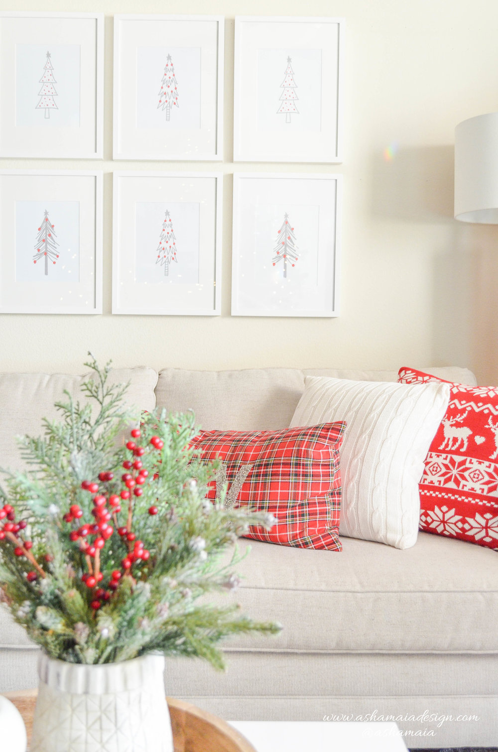 Warm & Cozy Christmas Wireframe Christmas Tree Wall Art