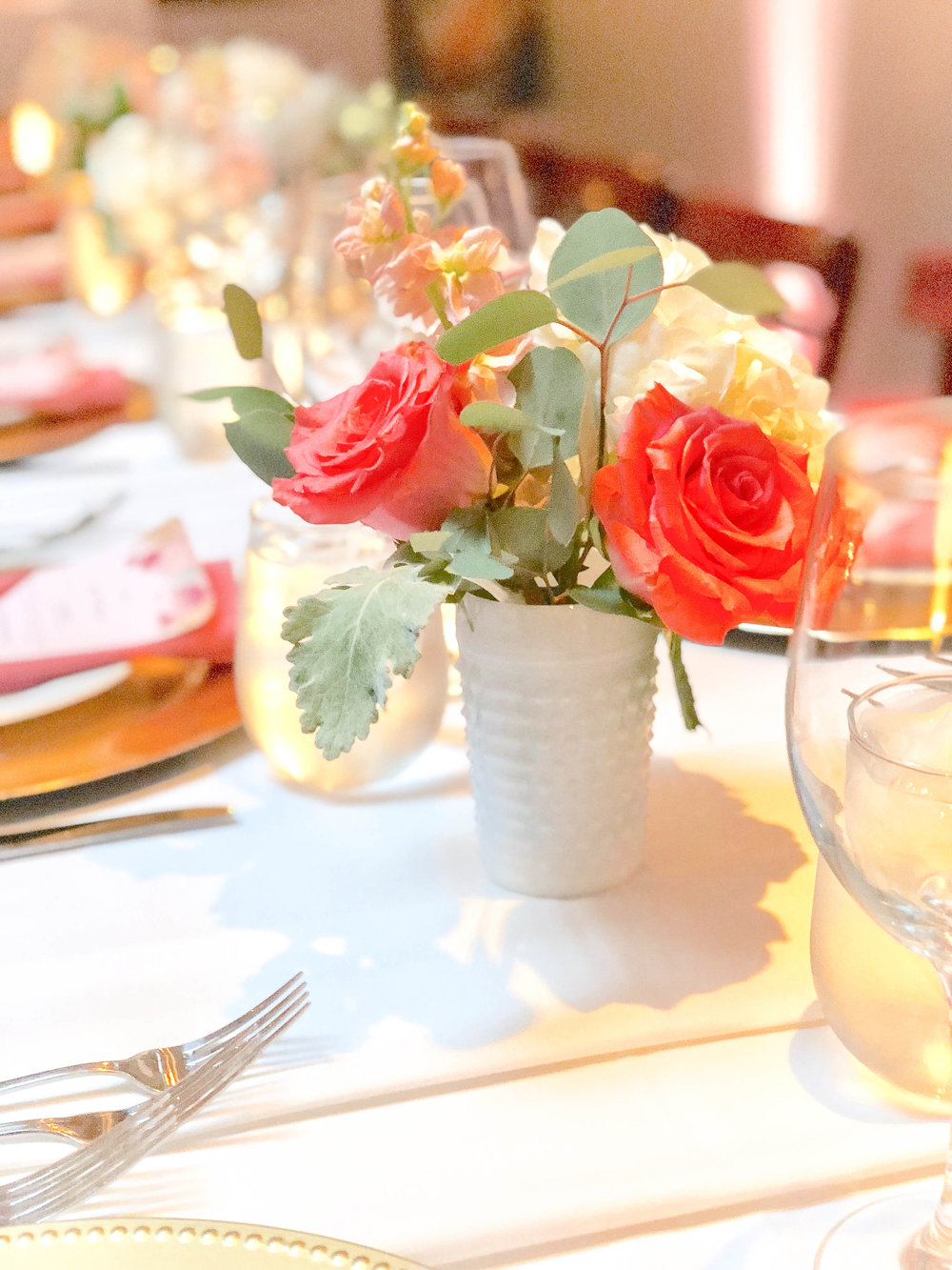 Intimate Coral Wedding Reception