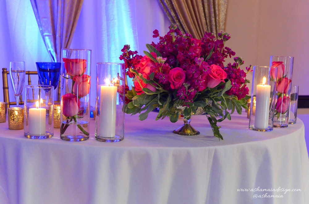 Blue, Gold & Fuchsia Wedding