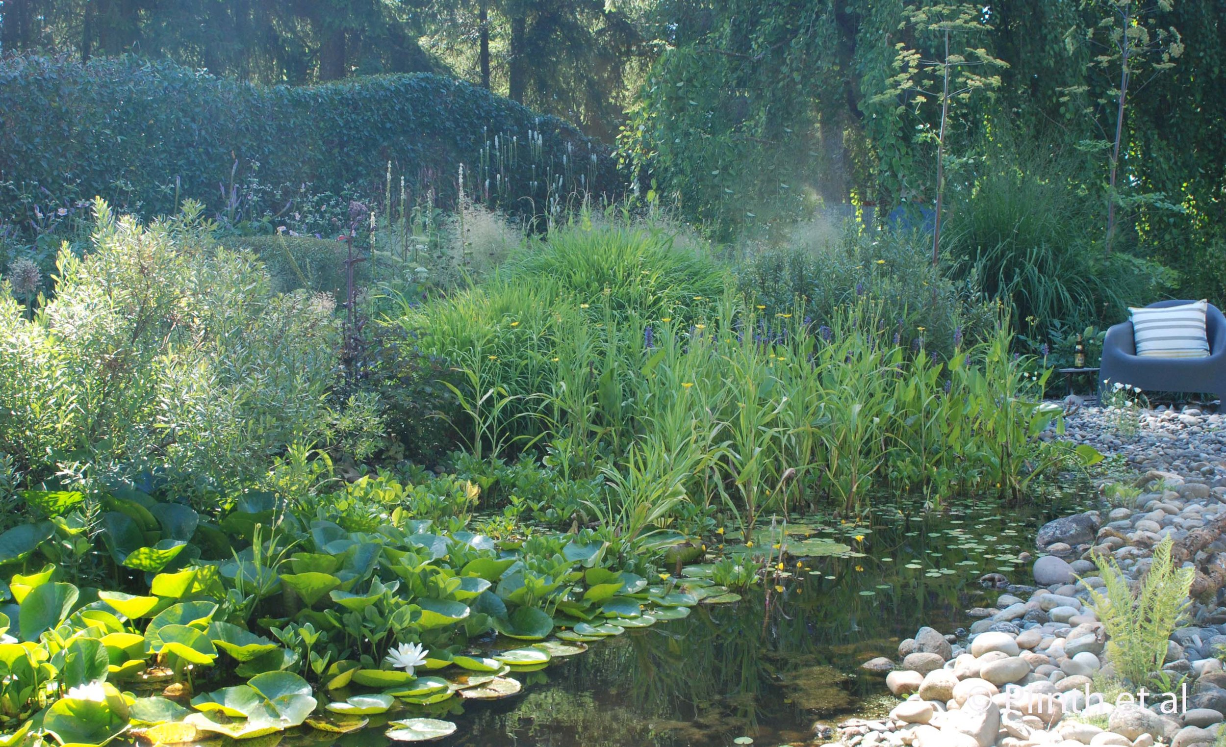 The pond quietly tiptoes between the 'wild' and 'cultivated' realms - the rock bed echoes the waterlilies while the hedge reinforces the distinction between the garden and the outlying woods.