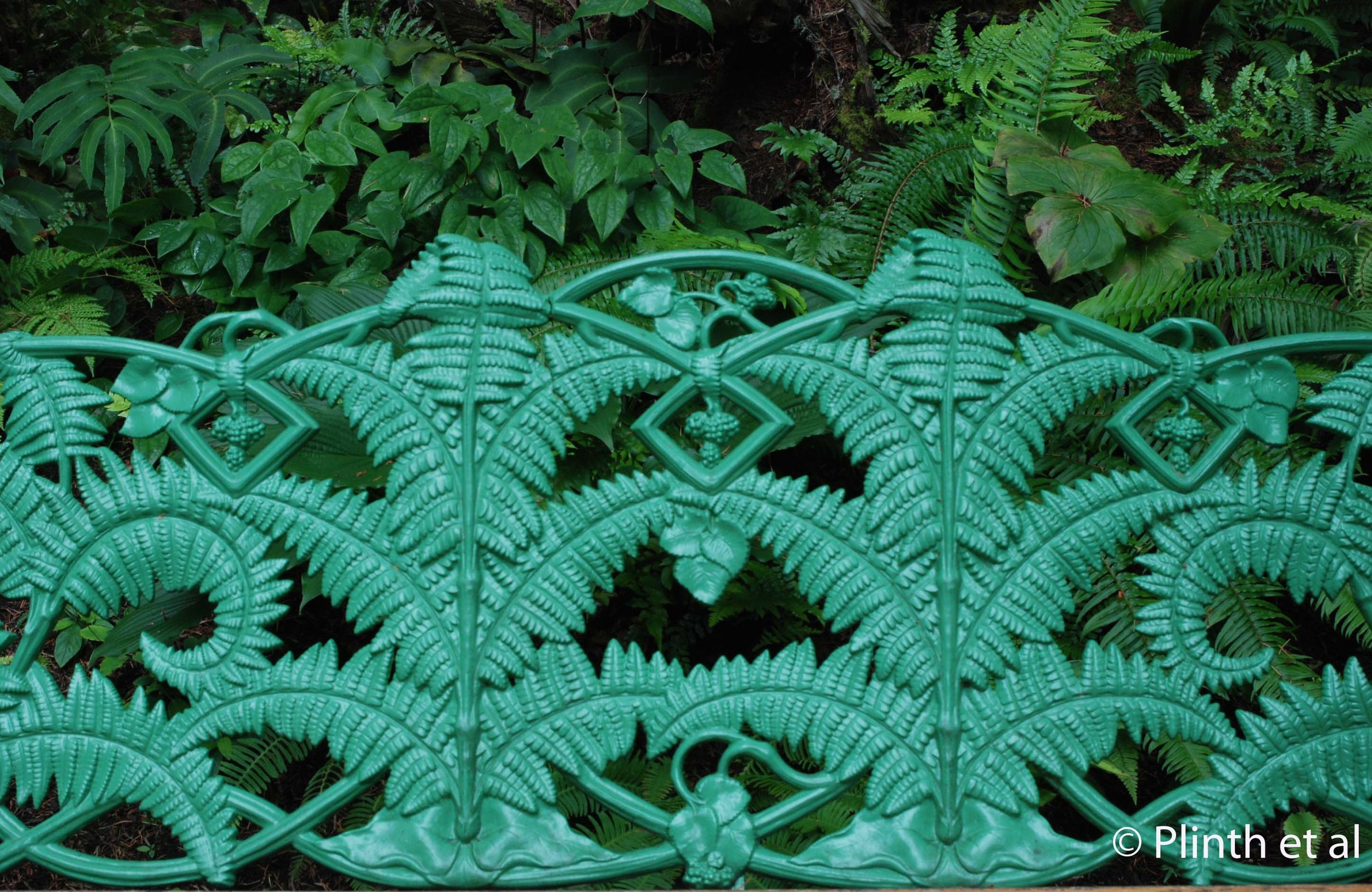 A replica of the Coalbrookdale 'Fern and Blackberry' bench graces the Stumpery, taking pteridomania to another level.
