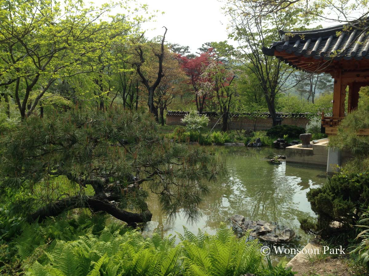 Heewon Garden, at the Ho-Am Art Museum, is a recreation of a traditional Korean garden. Traditional Korean gardens are less concerned with human intervention (less formal pruning) and more so with spiritual balance and harmony while preserving a wild natural feeling.