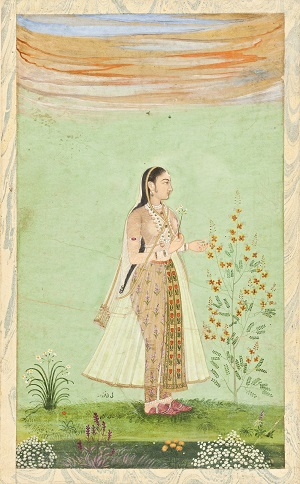 "This portrait of a woman, identified in tiny script below her skirt as one Bībī Farzānah, features almost as prominently as the subject herself an exquisitely rendered specimen of pride of Barbados ( Caesalpinia pulcherrima ) as well as  Narcissus tazetta , a small feathery cockscomb, yellow marigolds, white chrysanthemums, a diminutive red species tulip, and a small, difficult to identify plant with a short spike of purple flowers. The last two are cleverly echoed in the floral design of Bībī Farzānah's trousers and sash, and she holds a flowering narcissus shoot as if she had just plucked it from the clump to her left. ""Bibi Ferzana,"" Mughal Empire, c. 1675; Source: The Los Angeles County Museum of Art, Los Angeles."