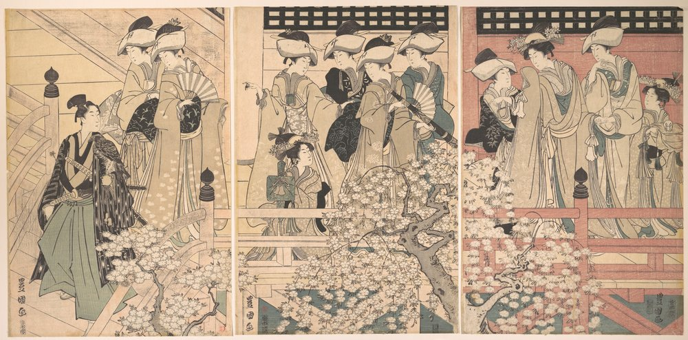 Beauties on a Veranda among Cherry Blossoms from which a Samurai is Departing c. 1800 by Utagawa Tokoyuni (The Metropolitan Museum of Art Collections): the diversity of flowering cherries reached their apogee when each feudal lord competed with each other to cultivate beautiful gardens often within their dwelling courtyards.