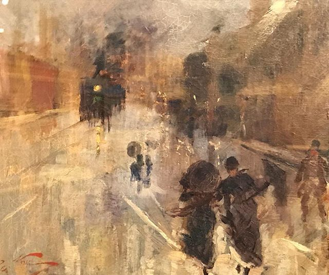 Girolamo NERLI 'A Wet Evening' (detail) 1888. Some cities are the most beautiful in the rain. #howardhinton #nerammuseum #paintingoftheday #citiesintherain