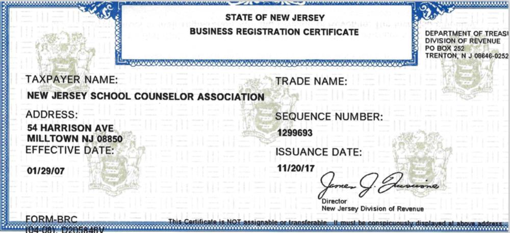 NJSCA Business Certificate