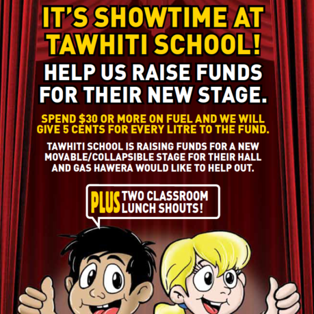 GAS Hawera helped Tawhiti School raise funds for their new stage. They also shouted lunch for two lucky classrooms.