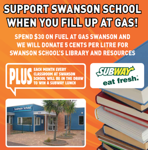 For Swanson School GAS Swanson donated 5 cents per litre towards their school's library and resources. Nothing better than a good book!