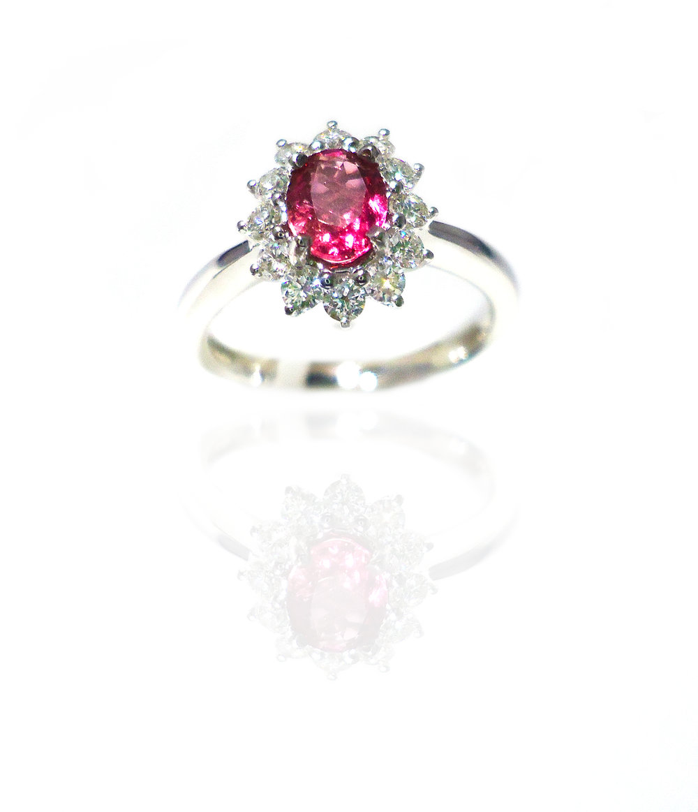 Tourmaline Floral style diamond ring!