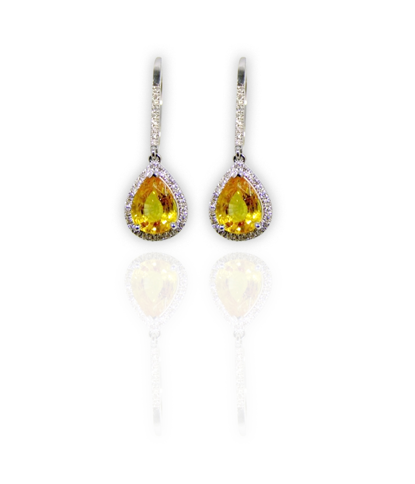 Vibrant sapphire diamond drop earrings!