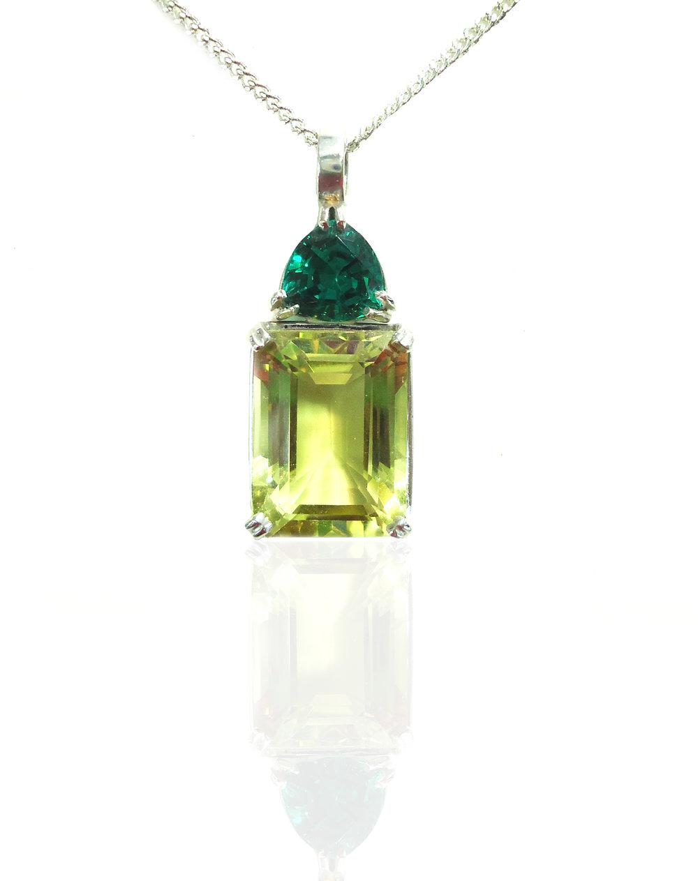 Emerald & Lemon Quartz pendant!