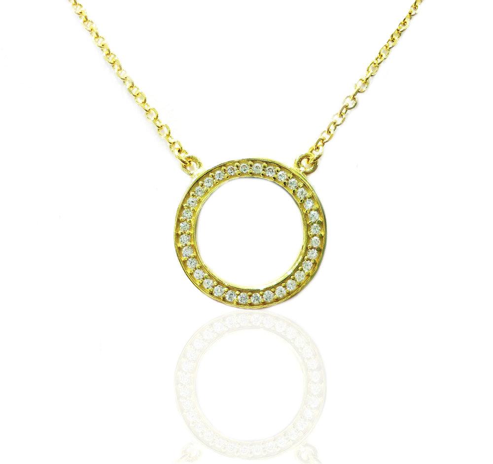 Gold circle pendant!
