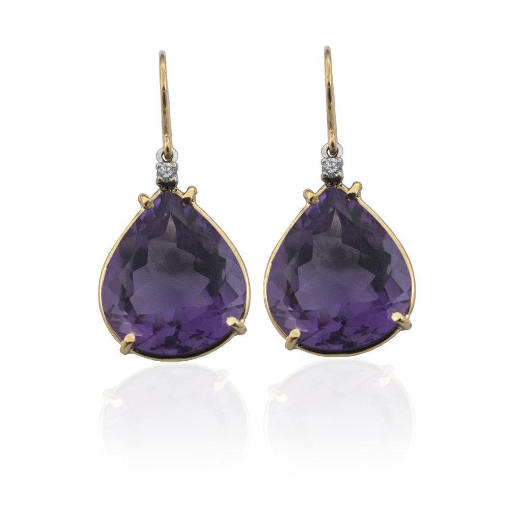 Amethyst diamond drop earrings.!