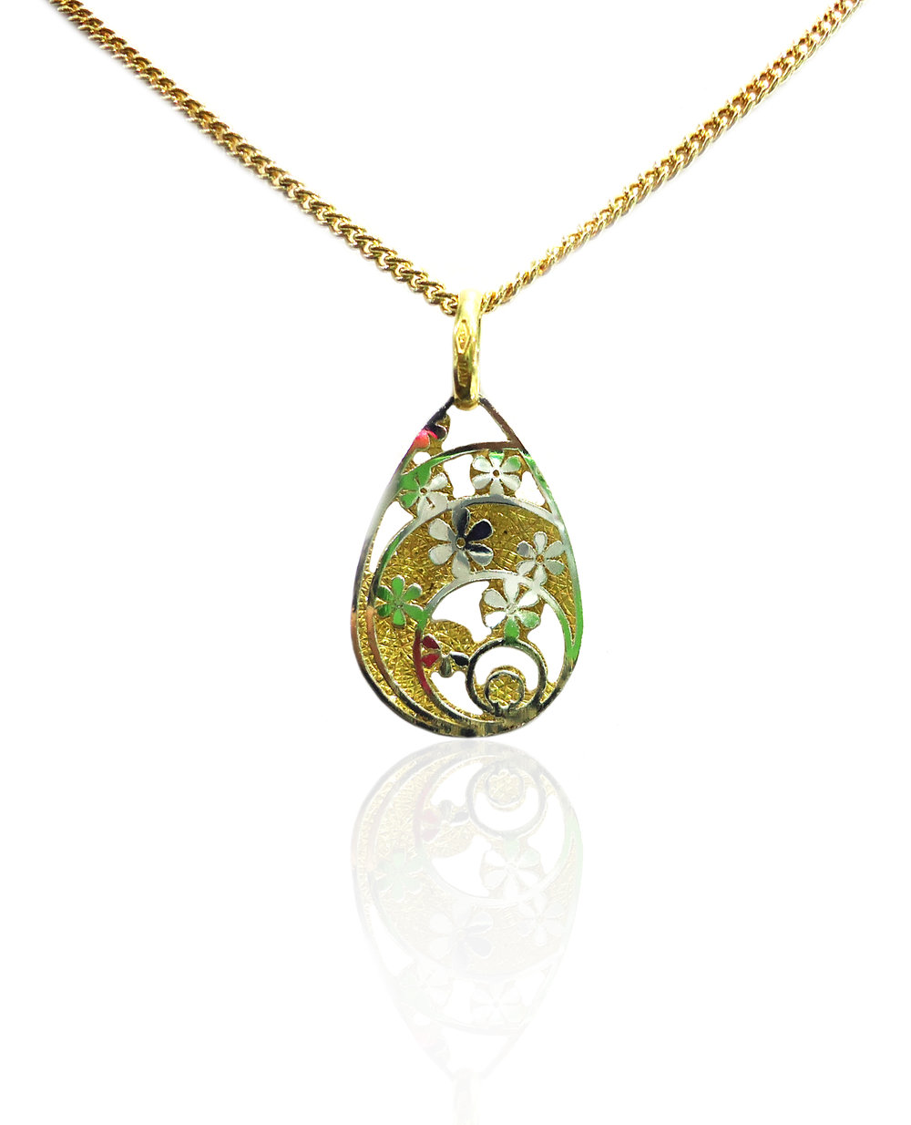Yellow and white gold flower oval pendant