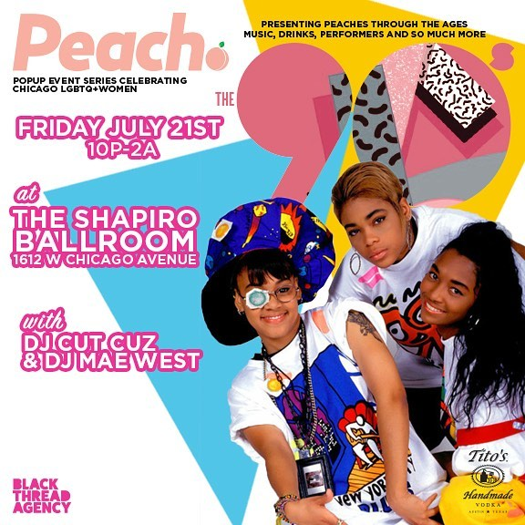 Chicago! Prepare yourself for our most interactive event yet! Presenting, Peach: The '90s. Two rooms filled with the decade's best. Tier 2 tickets are selling fast, so don't miss this chance to get yours before prices go up! Link in bio.