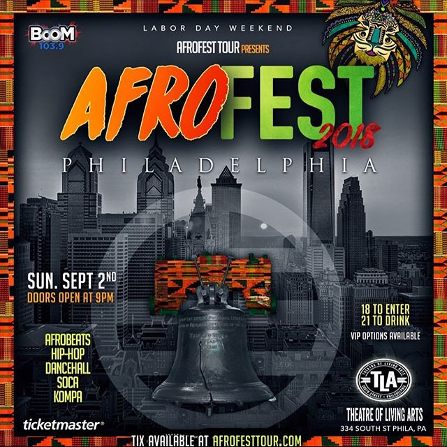 AFROFEST TOUR IS BACK IN PHILLY LIVE  AT THE TLA @tlaphilly • SUN. SEP. 2 • MADE IN AMERICA WEEKEND• THIS YEAR WILL BE EVEN BETTER THAN LAST YEARS. LAST YEAR TIX SOLD OUT, SO GRAB YOUR TICKETS NOW! . Cc: @djchioriji #AFROFESTPHILLY18🌍 #MadeInAmericaWeekend