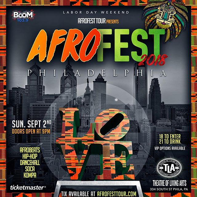 MADE IN AMERICA WEEKEND- AFROFEST comes to you LIVE at the TLA @tlaphilly . Get ready to enjoy your favorites vibes ranging from AFROBEATS, DANCEHALL, SOCA, HIP HOP, & KOMPA! Big announcement coming soon. Get your tickets now . Link in bio #AFROFESTPHILLY18🌍#MIAWEEKEND