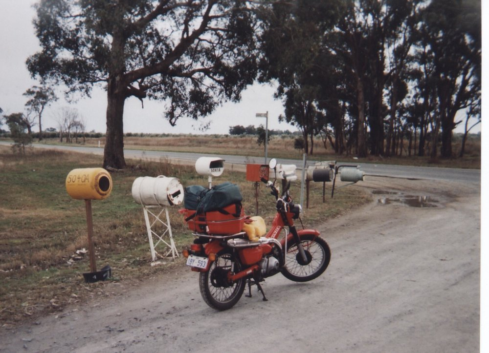 2006 to mend a broken heart i decided to buy this postie bike in freemantle and i spent the next 13 days at 65kph getting to manly in sydney. some time later i rode it to tassie, to cockle creek and was then heading for cape york. by the time i got back to victoria the worst of my broken heart was mended.