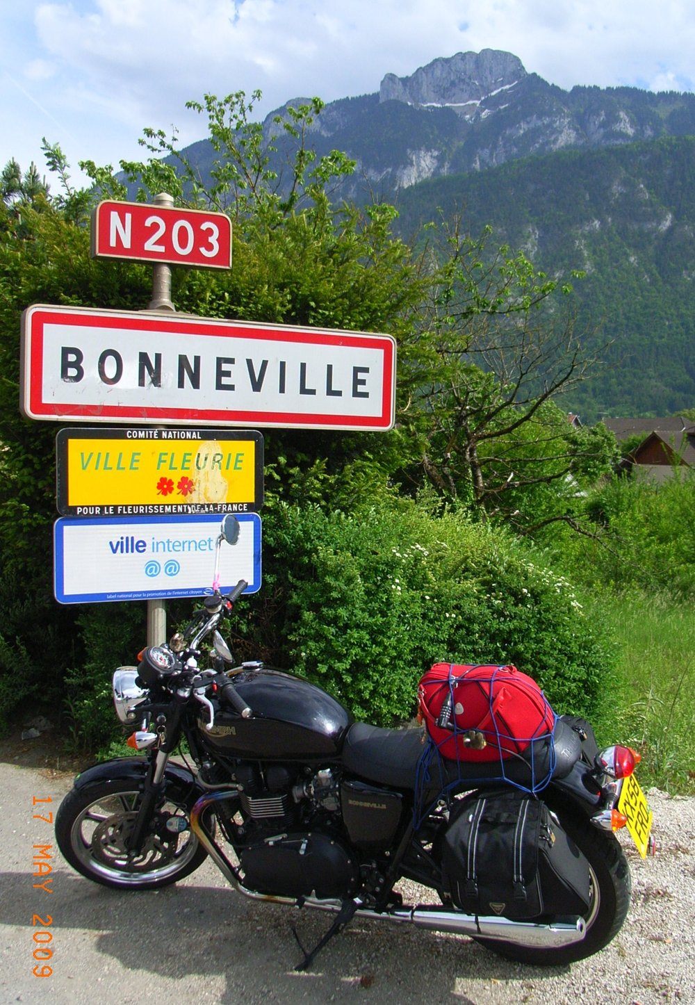 2009, obviously and i spent three weeks riding around france, covering 21 alpine passes and visiting this town as part of the 50 anniversary of the triumph model 'bonneville'.