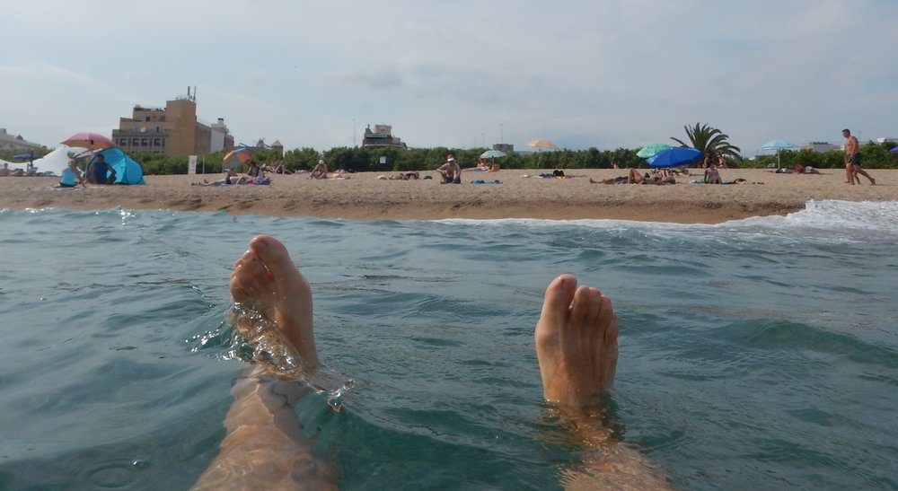 Mediterranean sea swim at Calella Beach near Barcelona, after Rossi got his podium at Catalunya.