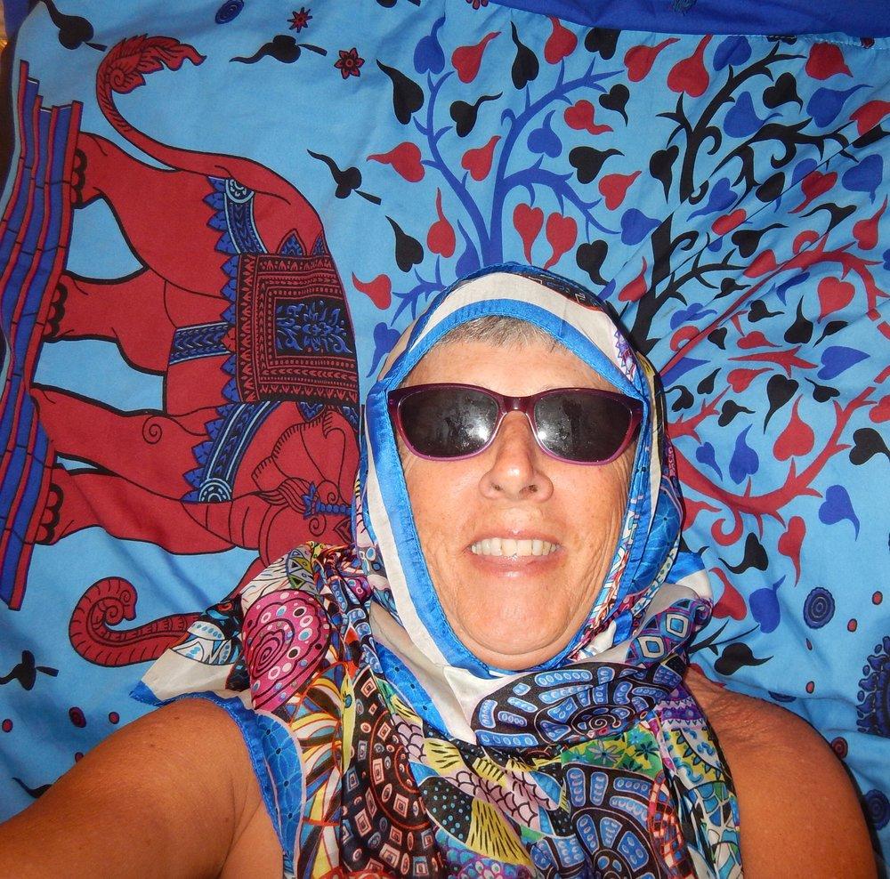 Moroccan Muslim style lying on my new sarong. Sarong side up.