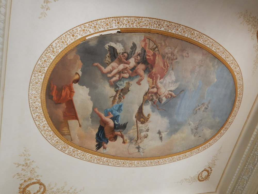 the ceiling in one of the dining rooms.