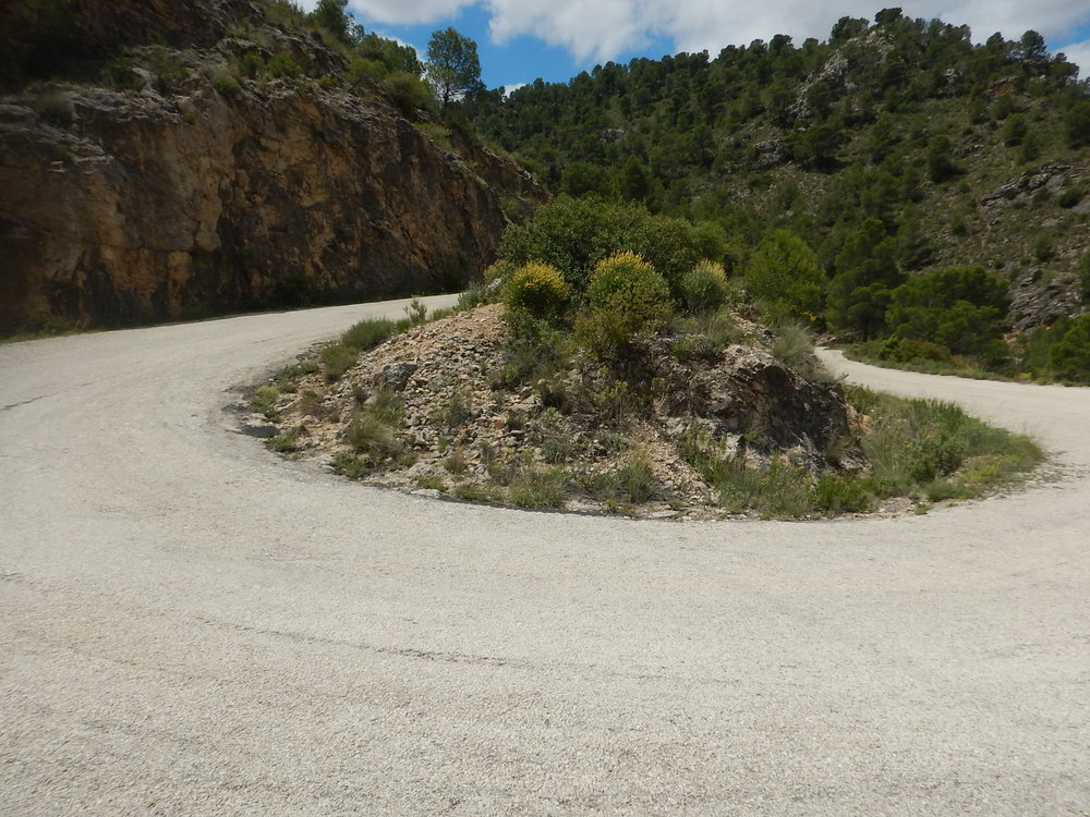 northern Spain, tricky road surface.