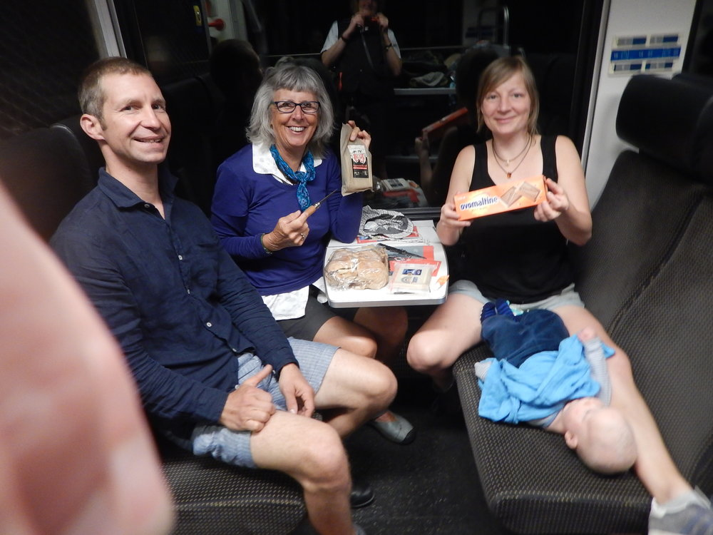 our picnic on the train, fresh bread rolls,  Appenzeller cheese and Ovaltine choccy biscuits