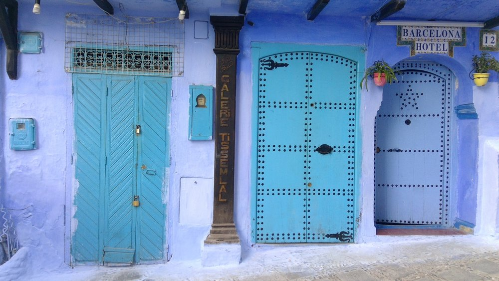 Artsy photo of doors in Chefchouen, Morocco. My motto: When one door closes, another always opens