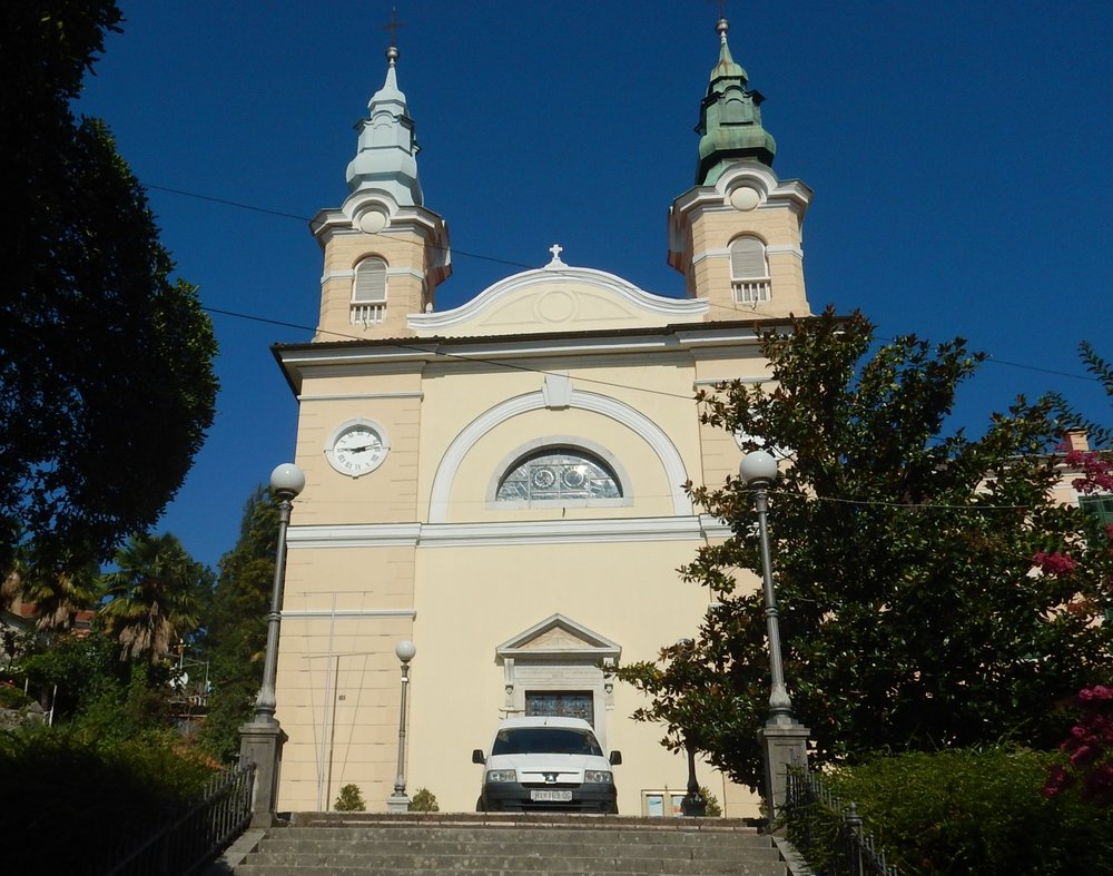 Saint Anne's Church, Volosko, Croatia. I hope that car is not coming down the steps.