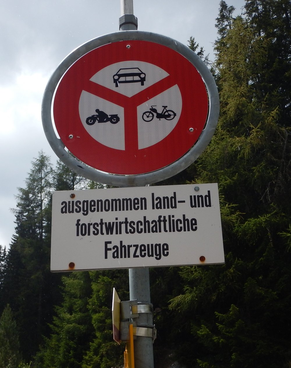 The Swiss being economical, one sign instead of three. No cars, bikes or bicycles past this point.