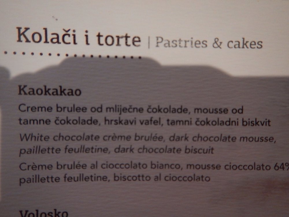 Description from the menu card