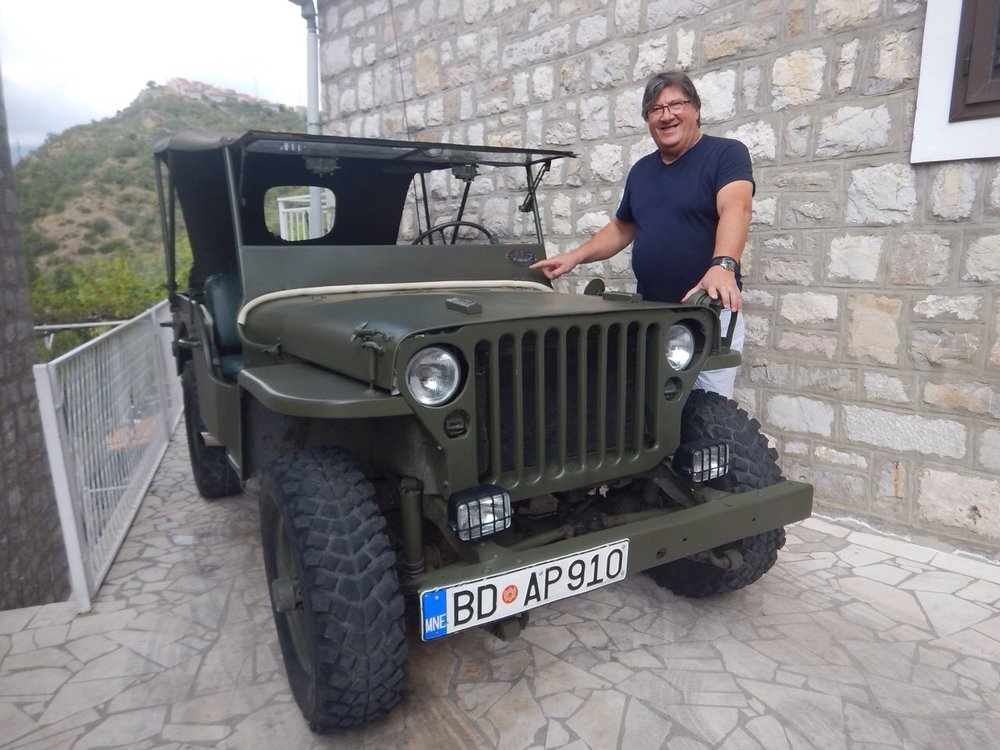 Zeljko the deep voiced Russian owns this 1941 jeep and often uses it for running around, cooler than on the bike! He also has a 1960's Cadillac hidden away somewhere.