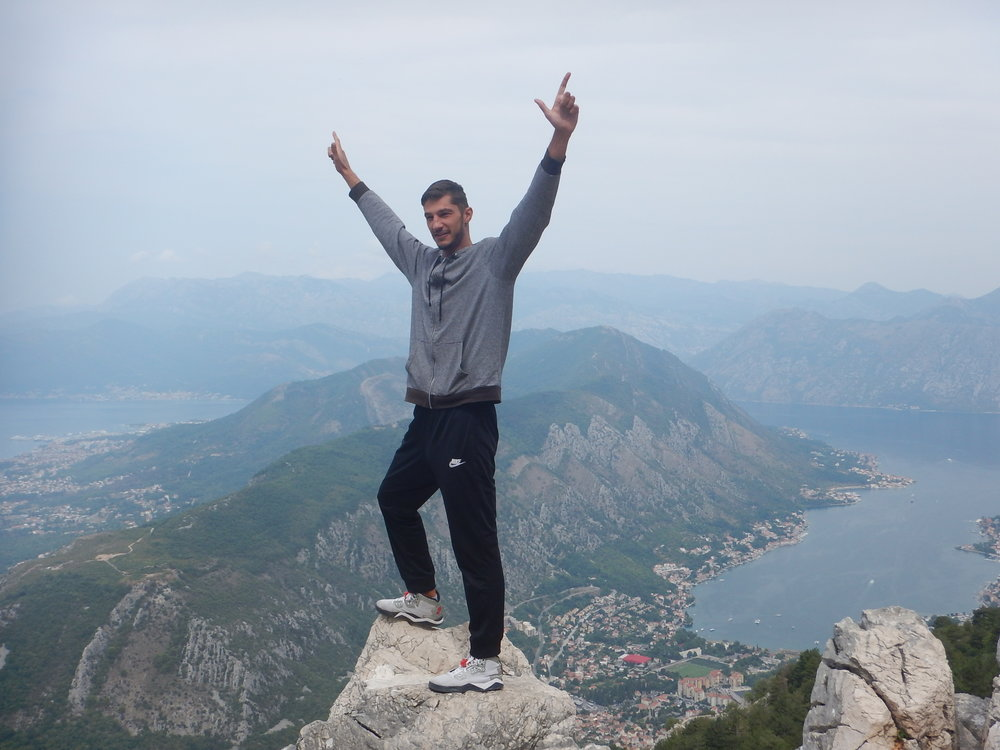 In his freedom pose. All Montenegrins he says, are warriors, they have to be, there are not many men in Montenegro and other nations keep wanting to occupy their country.