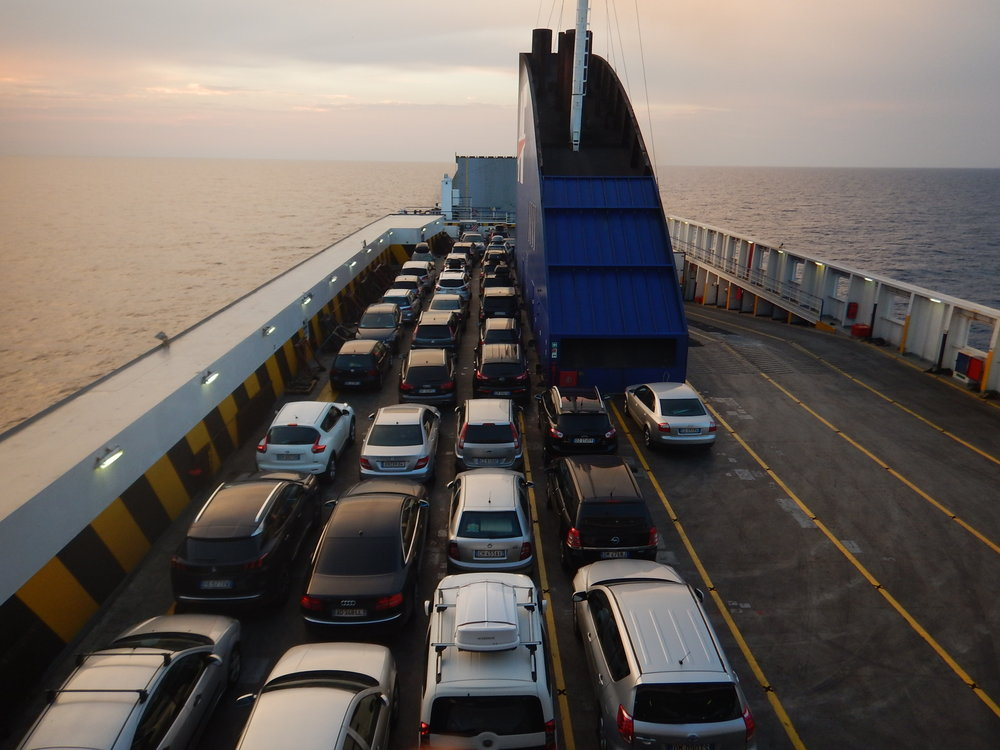 not all these vehicles are parked in the same direction. More fun disembarking!!