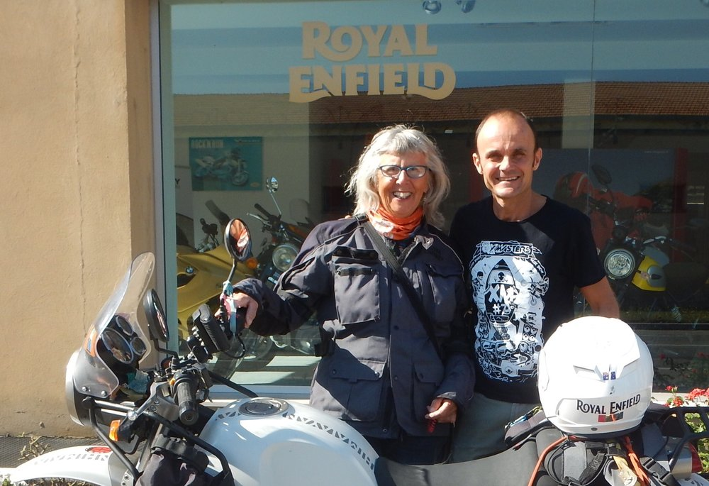 Luca was quite impressed with my bike and my trip. He has sold many Himalayans and asked if he could send this photo to RE Italy!!
