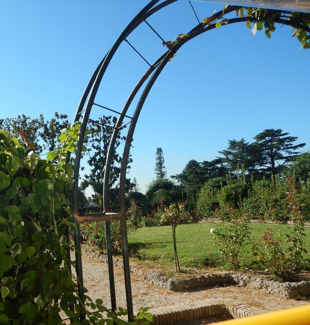 Entrance to the rose garden.