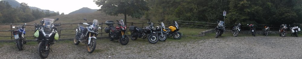 just some of the thirty+ bikes. Two from North America, one from Australia and the rest were from all over Europe. one fellow had ridden his bicycle from England. Everyone else was on motorbikes.