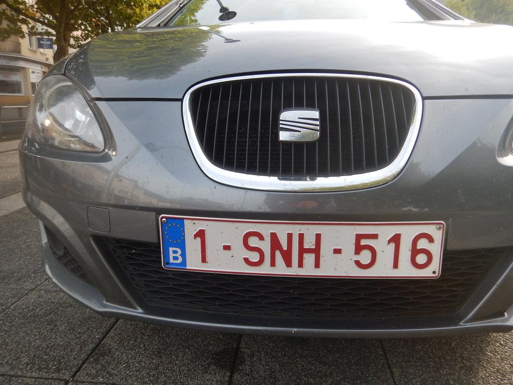 Belgium number plate.