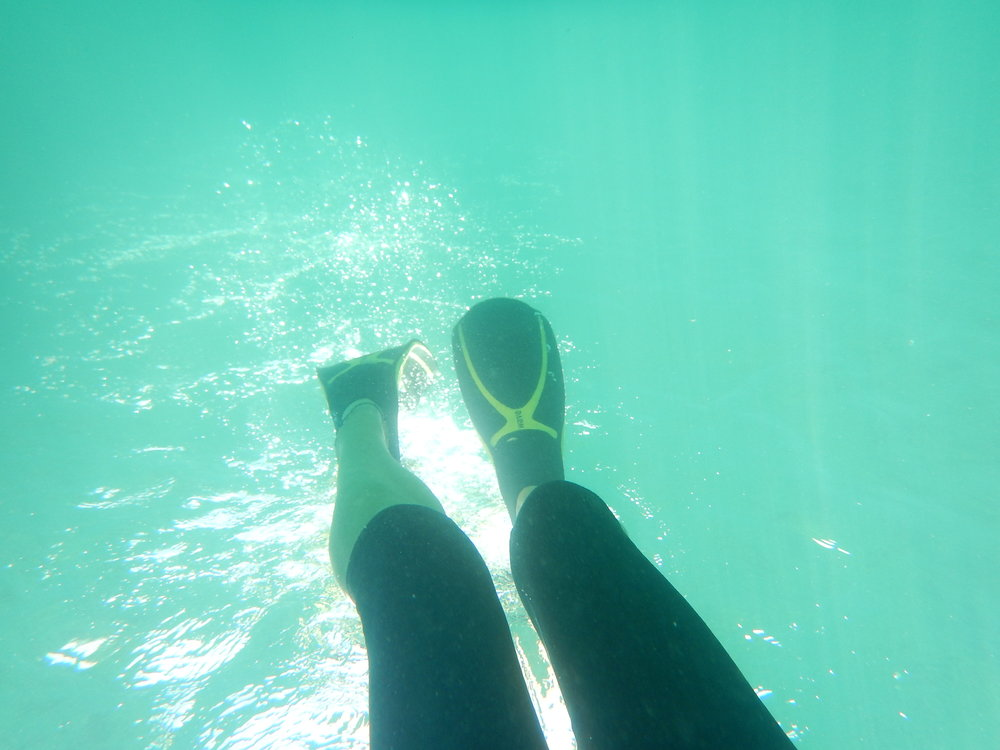 My turn to try to reach the bottom, with flippers.