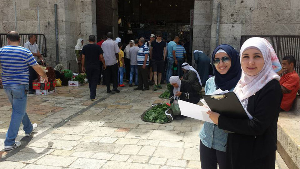 A pedestrian survey team in the field at Damascus Gate, Old City, Jerusalem