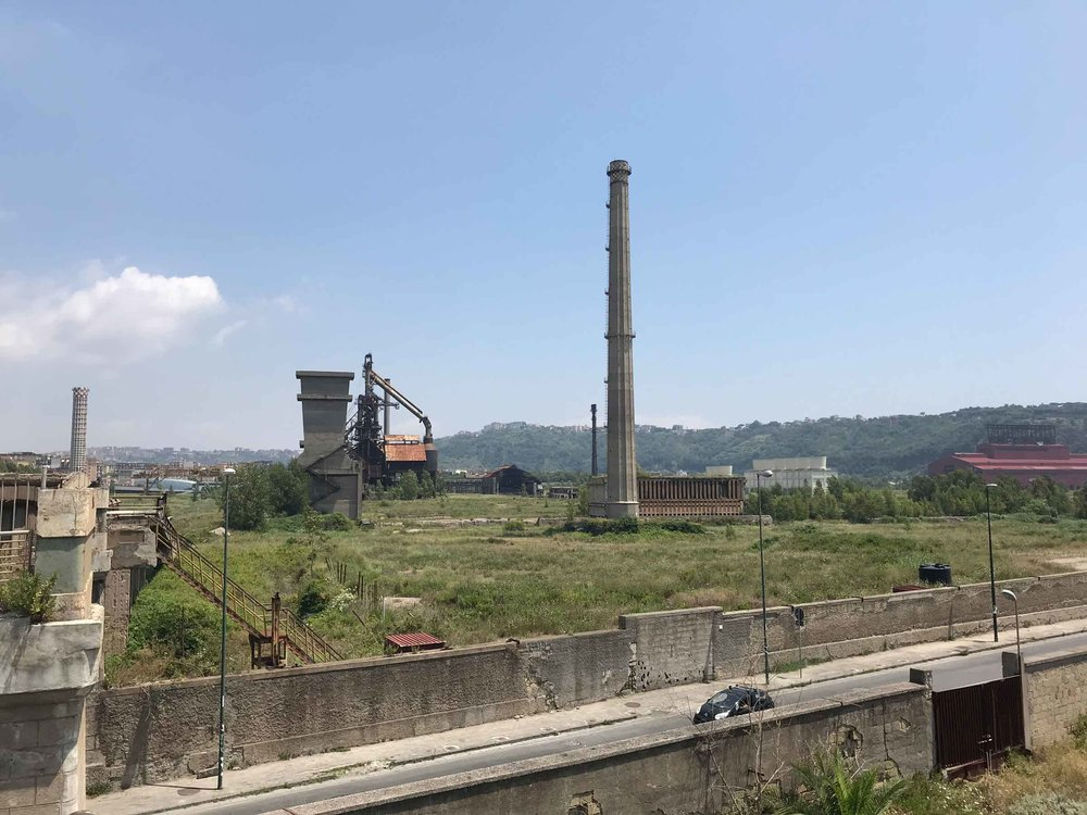 Abandoned industrial plants on contaminated plots in Bagnoli