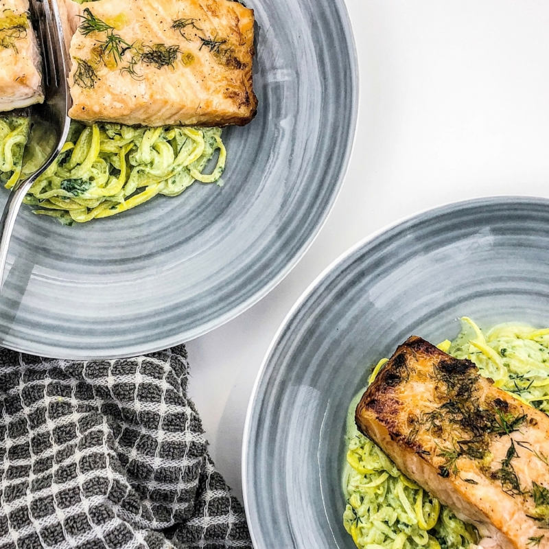 Honey Dill Salmon and Zoodles
