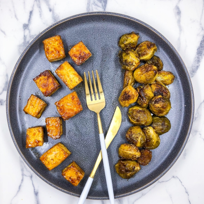 Easy Soy Tofu and Brussels Sprouts