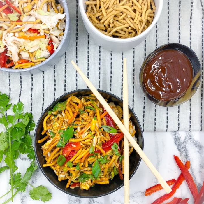 Chinese Chicken Salad with Szechuan Sauce and Noodles