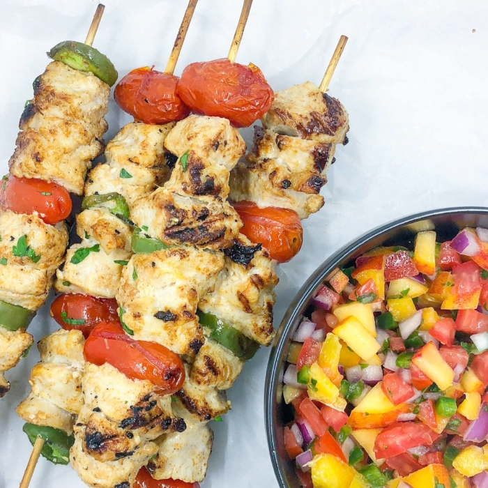 Grilled Chicken Skewers with Peach Salsa