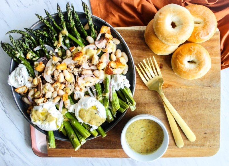 Roasted Asparagus Salad  with Burrata and Everything Bagel Dressing