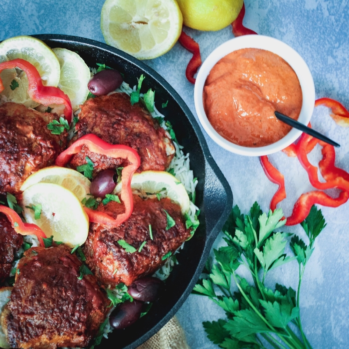 Crispy Chicken Thighs with Romesco