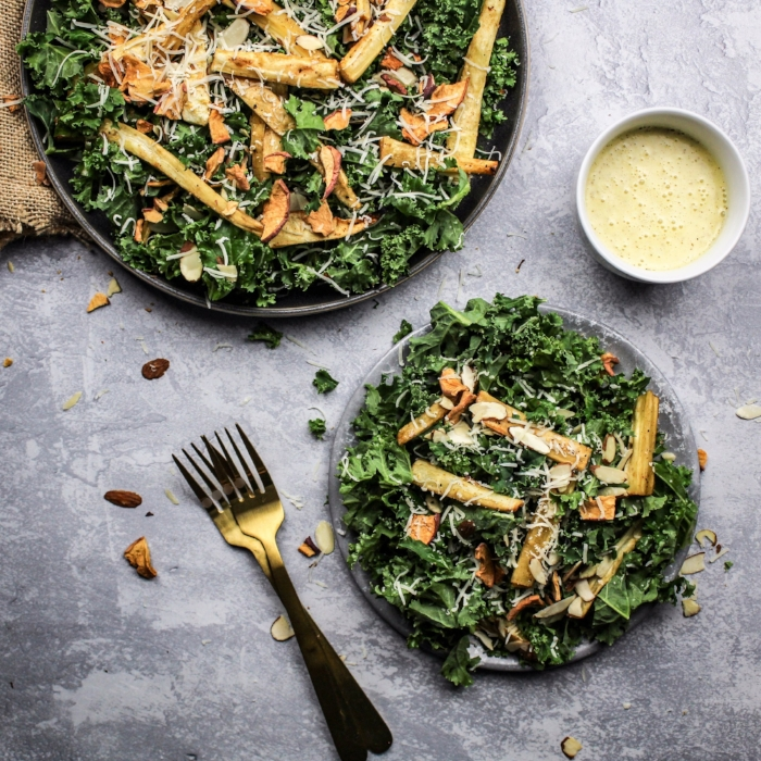 Kale Salad with Roasted Parsnips and Maple Dressing