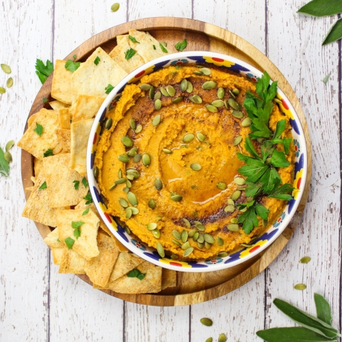 Easy Pumpkin Hummus with Fried Sage